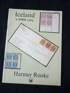 HARMER ROOKE AUCTION CATALOGUE 1965 ICELAND