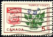 Purple Violet & Arms of New Brunswick, Canada SC#421 Used