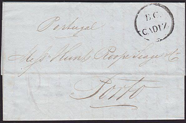 GB PO IN SPAIN 1838 entire to Portugal - B.C. / CADIZ of the British PO.....6631