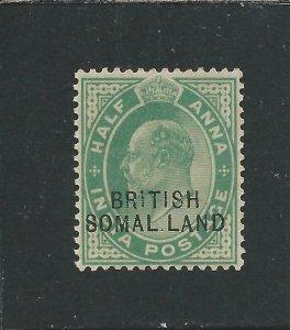SOMALILAND 1903 ½a GREEN MISSING I (SOMAL LAND) LMM SG 25d CAT £80