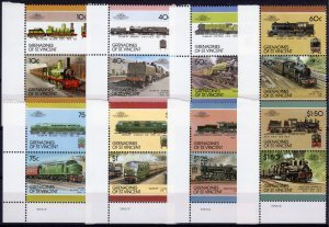 St.Vincent Grenadines 1997 LOCOMOTIVES (8) Pairs 16 values Perforated Mint (NH)