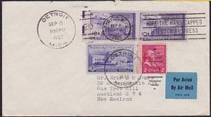 USA 1950 Airmail cover to New Zealand - nice franking.......................4888
