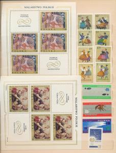 POLAND 1969/71 Art Costumes Lenin Birds Ships MNH+Sheets(Appx 90+)(Ac1385