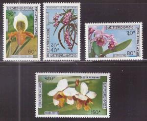 LAOS Scott 230-232, C89 MNH** Orchid set 1972