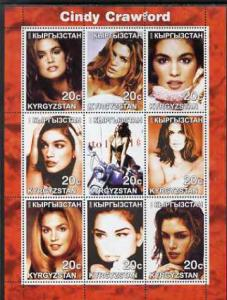 Kyrgyzstan 2000 Cindy Crawford perf sheetlet containing 9...