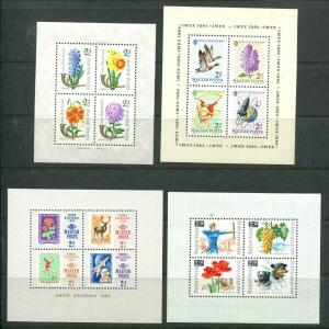 HUNGARY  B233b B242b B257b B262b  SHEETS MNH 1963-1966 Flowers Sports Dogs