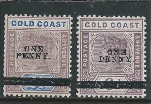GOLD COAST 1901 OVERPRINT PAIR MM SG 35/36 CAT £28