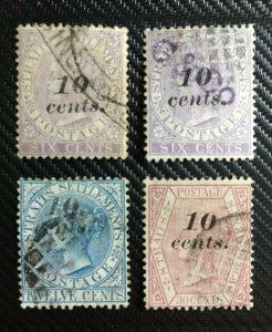 MALAYA 1880 Straits Settlements QV 10c overprints USED SG#44-46 M3201