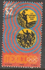MEXICO C342, $2Pesos 1968 Olympics, Mexico City USED. VF.  (1236)