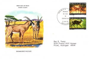 Ivory Coast, Worldwide First Day Cover, Animals