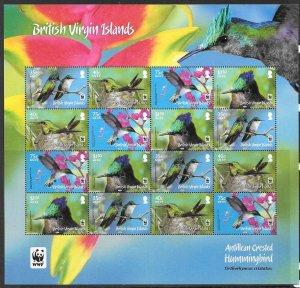 BRITISH VIRGIN ISLANDS SG1278a/81a 2014 HUMMINGBIRDS SHEETLET NO WHITE FRAME MNH