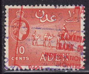Aden 49a Hinged Used 1955 Camel Transport (CIBC Bank Stamp)