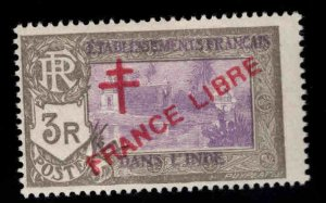 FRENCH INDIA  Scott 174 MH* France Libre  overprint