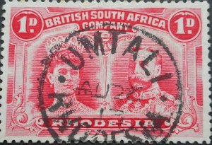 Rhodesia Double Head One Penny with UMTALI Month Day (SC) postmark