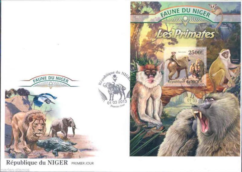 FAUNE OF NIGER 2013 PRIMATES  SOUVENIR SHEET   FIRST DAY COVER