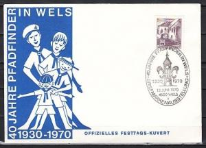 Austria, 1970 issue.13/JUN/70. Wels Pathfinder-Scout cancel on a Cachet cover.