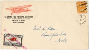 (I.B) Canada Private Air Mail : Cherry Red Airline 10c (Flown Cover)