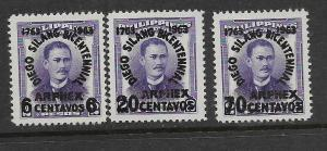 PHILIPPINES, 875-877, MNH, SURCHD ARPHEX