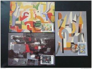 paintings modern art set of 3 maximum card Luxembourg 2000