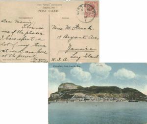 Gibraltar 1d KGV 1918 Gibraltar, 1 PPC (Gibraltar view of Rock from the Bay) ...