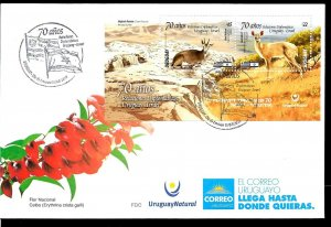 URUGUAY 2019 ISRAEL JOINT ISSUE DIPLOMATIC RELATION 70TH ANIV FAUNA S/SHEET FDC