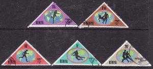 Kenya-Sc#225-9- id2-used set + single from the souvenir sheet-Sports-Soccer Worl