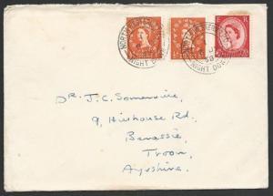 GB 1958 cover NORTH WESTERN TPO NIGHT DOWN railway cancel..................50606