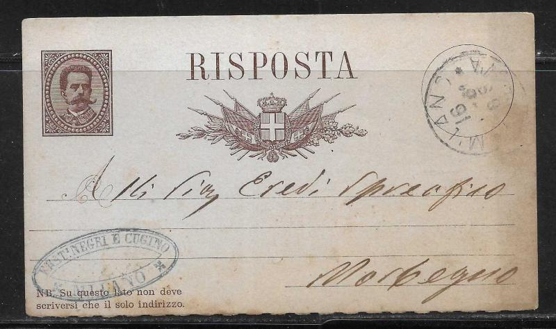 Italy Stationery Postcard H&G #8 half card Used 1888