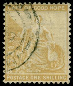 SOUTH AFRICA - Cape of Good Hope SG67, 1s yellow-ochre, FINE USED.