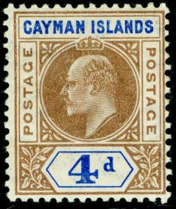 CAYMAN ISLANDS SG13, 4d brown & blue, VLH MINT. Cat £32.