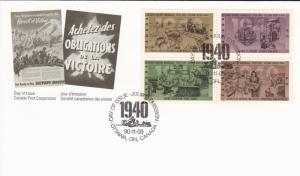 Canada # 1301a, World War II Events of 1940, First Day Cover