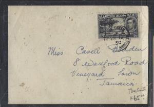 CAYMAN ISLANDS  (P2710B) 1950 GVI 1 1/2D THE CREEK TO JAMAICA INTER ISLAND