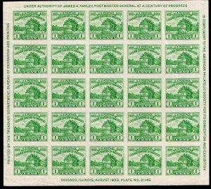 US STAMP #730 – 1933 1c Restoration of Fort Dearborn, souvenir sheet of 25 MH