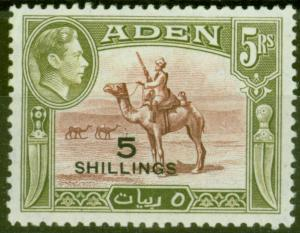 Aden 1951 5s on 5R Red-Brown & Olive-Green SG45 Very Fine MNH