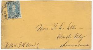 CSA Scott #4 Stone 2 on Cover Corinth, MS Double Ring NO & J R Road Routing VF
