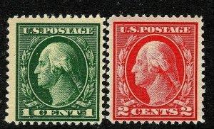 [MC2]   US #405-406 Mint-NH 1914 SL Wmk Perf 12 ...Free Shipping!