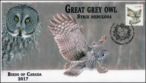 CA17-043, 2017, Birds of Canada, Great Grey Owl, Day of Issue, FDC