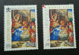 Vatican - Croatia Joint Issue Christmas 1998 Natal (stamp pair) MNH