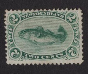 Newfoundland  #24  used   1865  fish   2c green