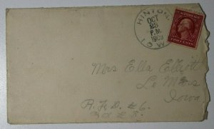 US Sc#332a Used On Cover 1909 Hinton IA Booklet Corner Single