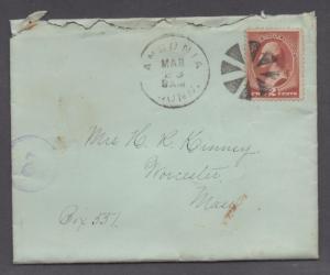**US 19th Century Cover SC# 210, Ansonia, CT, 3/23/1885 CDS Fancy Cxl, XF Strike