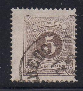 Sweden Sc J14 1877 5 ore postage due stamp used