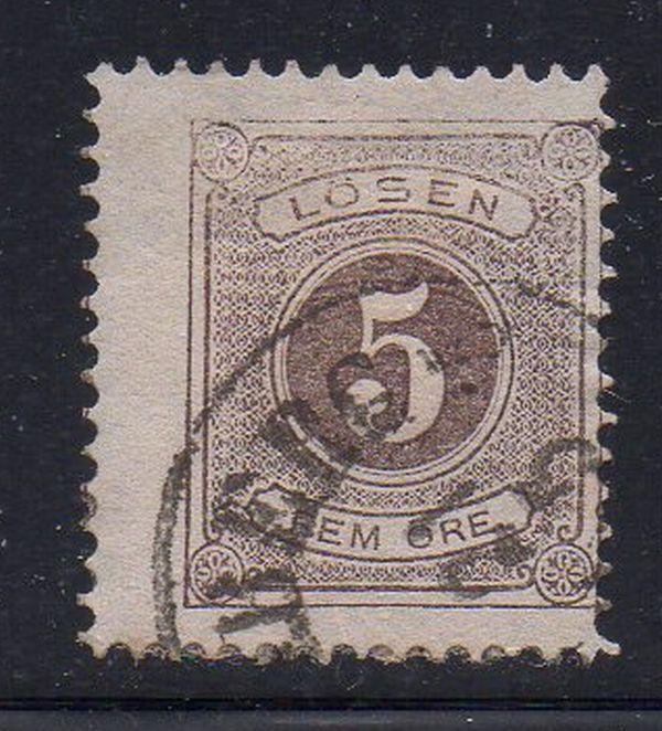 Sweden Sc J14 1877 5 ore postage due stamp used