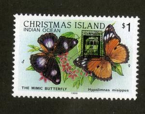 CHRISTMAS ISLAND 209 MH SCV $3.25 BIN $1.30 BUTTERFLIES