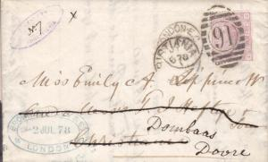 1878, London to Christiana, fwd to Dombaas (hs350)