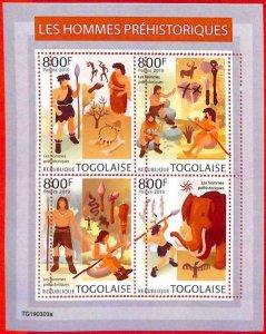 A3111 - TOGO, ERROR MISSPERF, Miniature sheet: 2019 Men of the caves, Prehistory