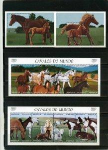 ANGOLA 1997 FAUNA HORSES 2 SHEETS OF 8 STAMPS & 2 S/S MNH