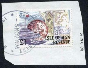 Isle of Man One Pound Multicoloured QEII Pictorial Revenue CDS On Piece