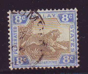 Malaya Sc 30c 1907 8c tiger stamp used