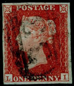 SG8, 1d red-brown PLATE 163, FINE USED. Cat £50. 4 MARGINS. LI